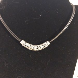 Jewelry - cute silver slide on leather chain.